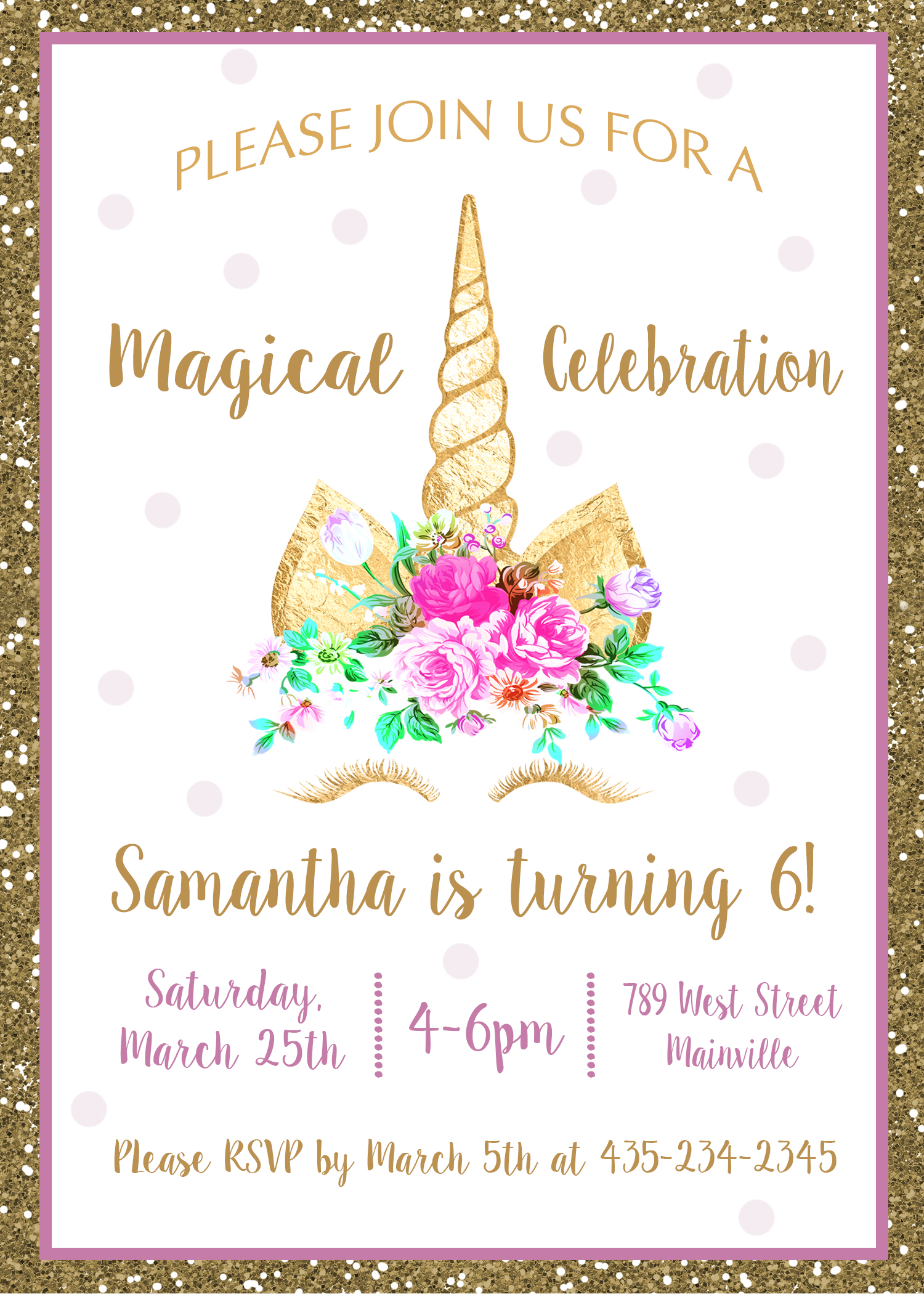 Unicorn Birthday Party Invitation, Unicorn, Flora, Unicorn Eyes ...