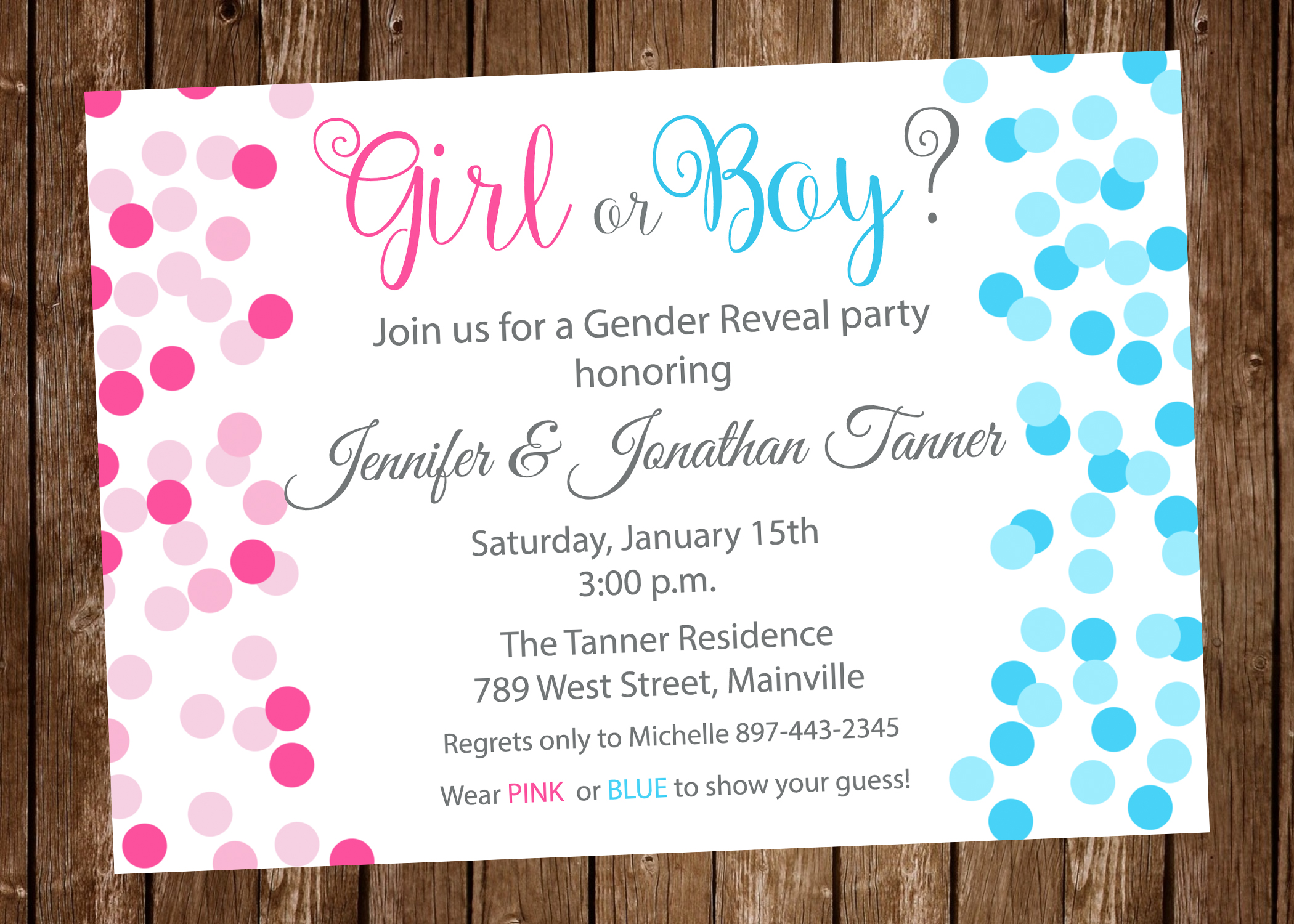 Gender Reveal Invitation, Pink, Blue, Confetti, Boy or Girl ...