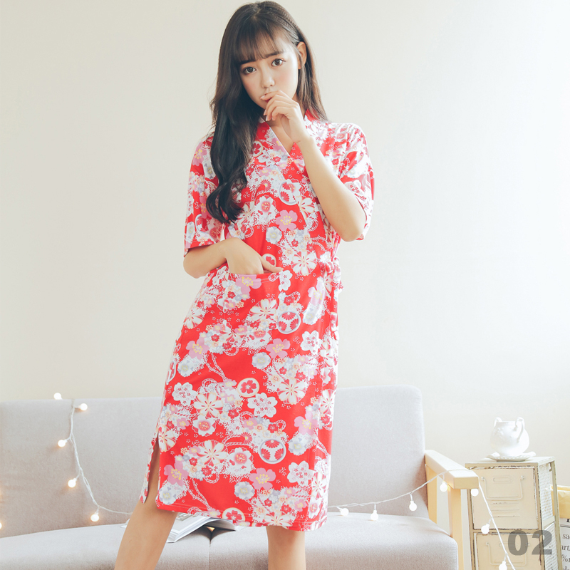 Japan Kimono Floral Sleep Dress Girly Lace-up Princess Robe