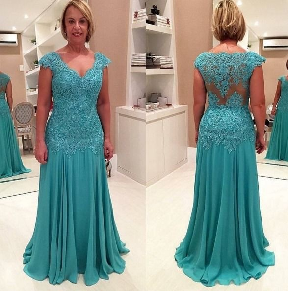 Image of Chiffon Long Mother of the Bride Dress with Appliques