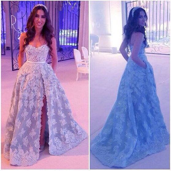 Brilliant Lace Appliques Prom Dress-sexy Sweetheart Evening Gown-beading Side Slit Prom Dress
