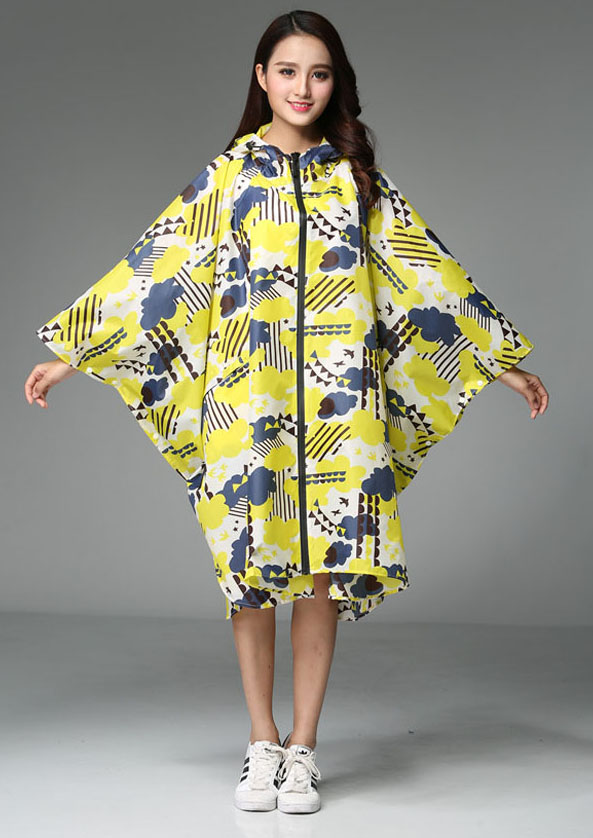 Long Cape Style Hooded Womens Raincoat