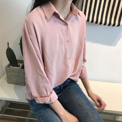 ece8c2a3e1 Pink collared chiffon blouse