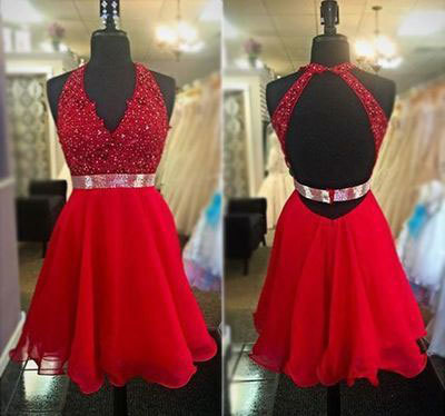 006ed193ad1 A385 Backless Homecoming Dresses Halter V-neck Red Chiffon Short Prom  Dresses
