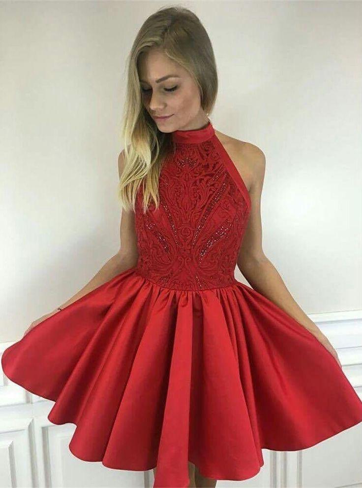 a5e15c3197e Cute red A line high neck short prom dress