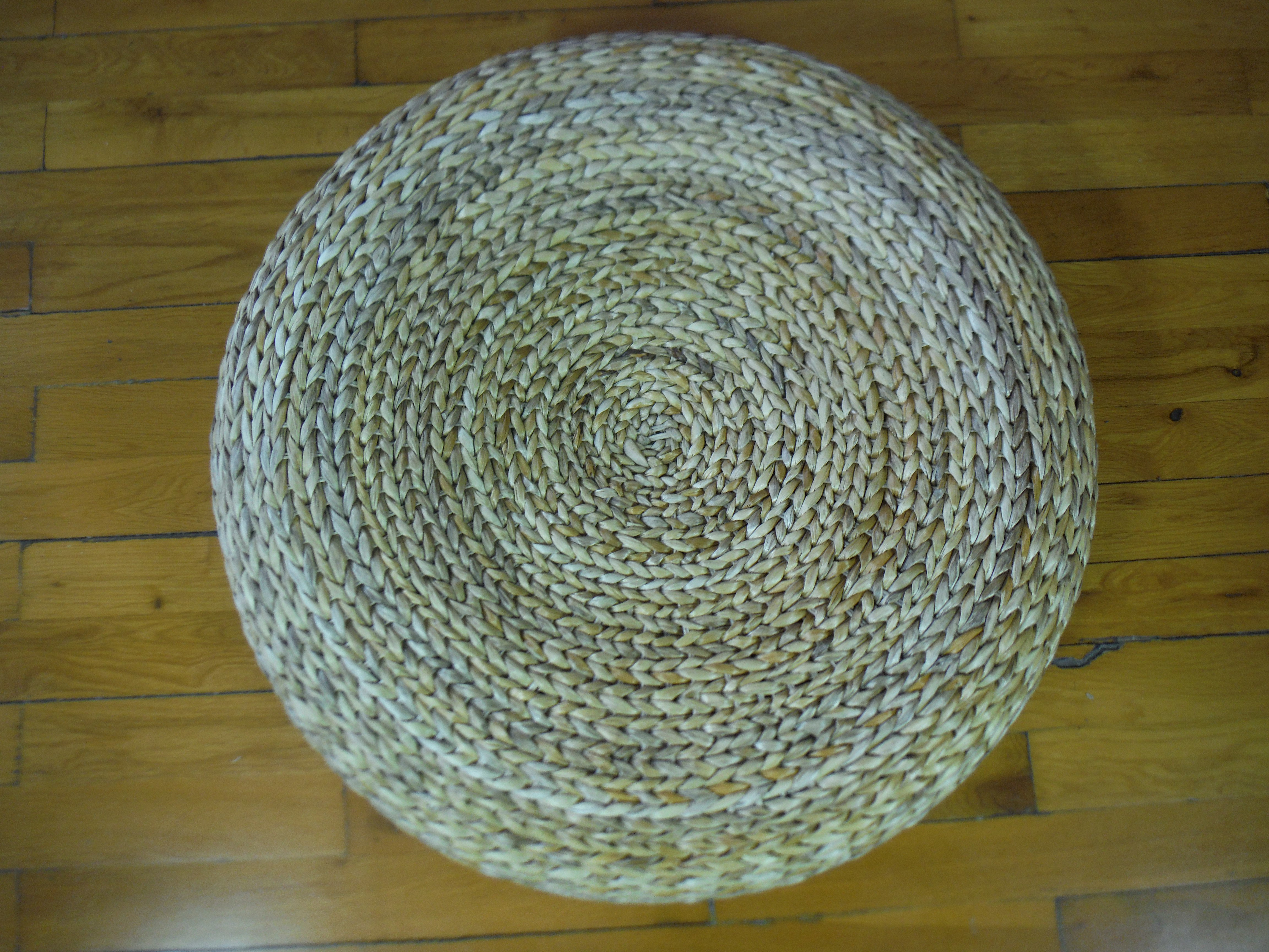 Admirable Round Floor Cushion Straw Pouf Footstool Floor Seating Yoga Gamerscity Chair Design For Home Gamerscityorg