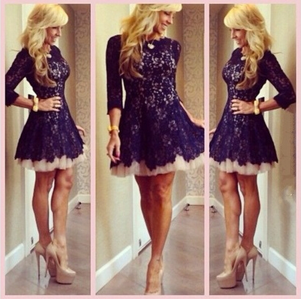 A432 Long Sleeve Lace Homecoming Dresses Dark Purple Modest