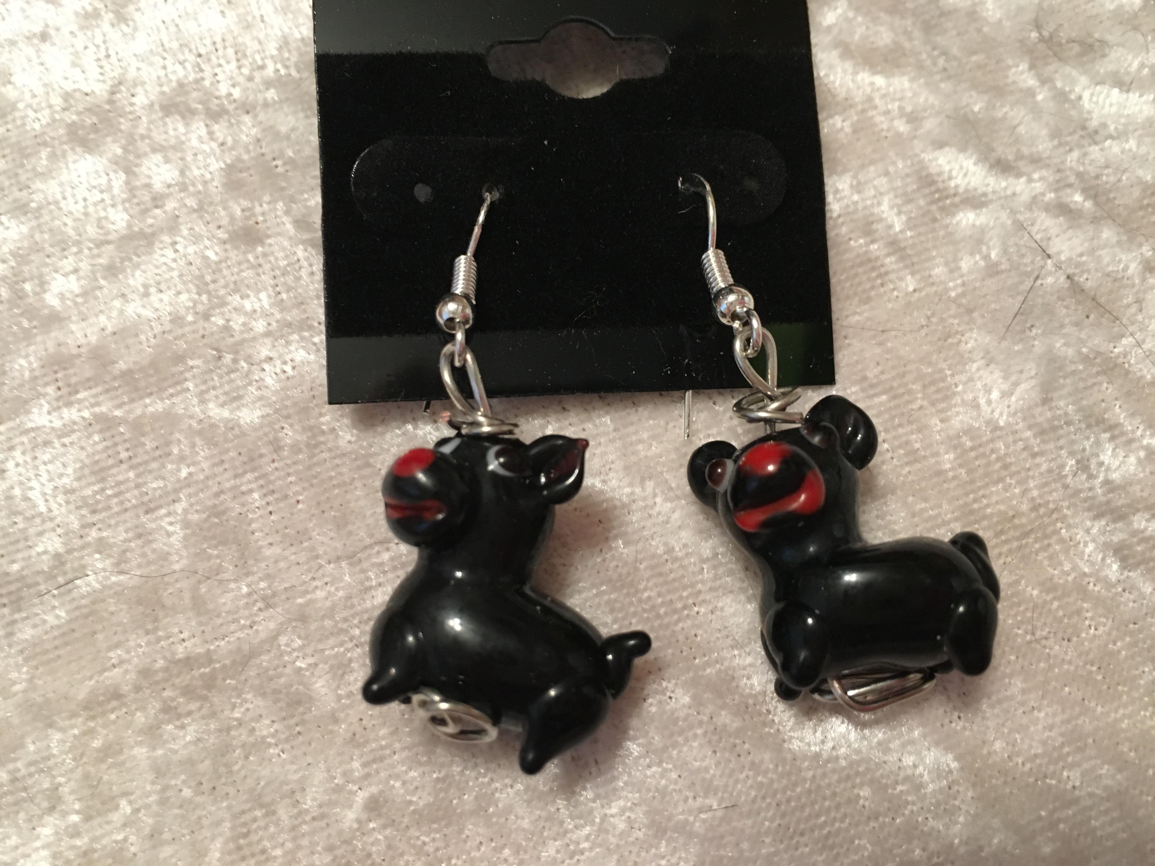 Scotty Dog Lampworked Glass EarringsBlack Or White .925 Sterling Silver Hooks