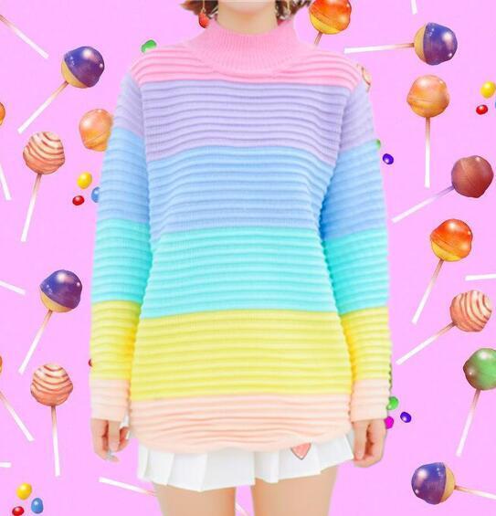 b454c9beb1 Pastel Rainbow Stripe Sweater on Storenvy