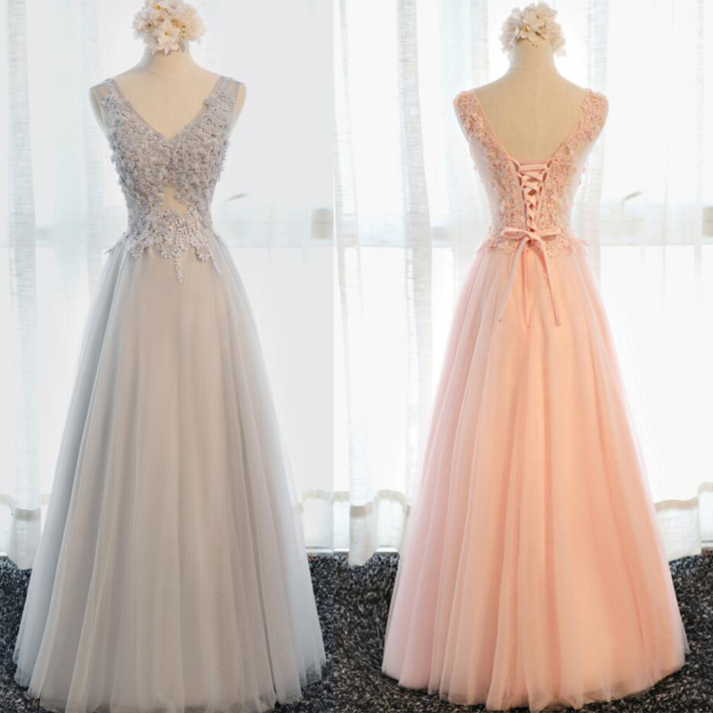 Elegant Sleeveless Prom Dresses,Long A-line Prom Dresses, Lace Up ...