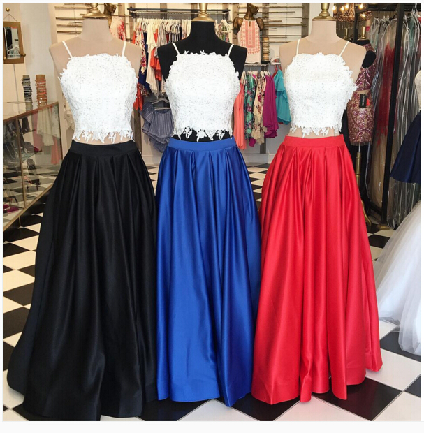 E197 Two Piece Long Red Royal Blue Black Prom Dress With White Lace