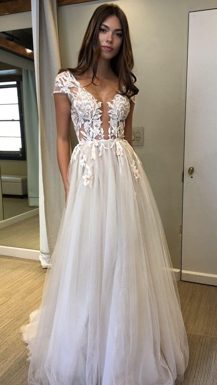 Long prom dresses, cap sleeve prom dress, tulle prom dress, applique ...