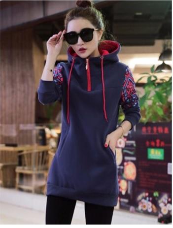 Womens Tracksuits Hoodies Thicken Plus Velvet Long Sleeve Womens Sweatshirt Plus Size Blue