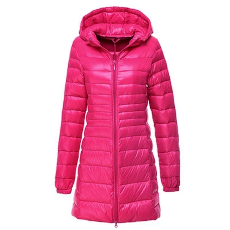Womens Ultralight Long 90% Down Hooded Jacket Puffer Parka Coat S-6xl