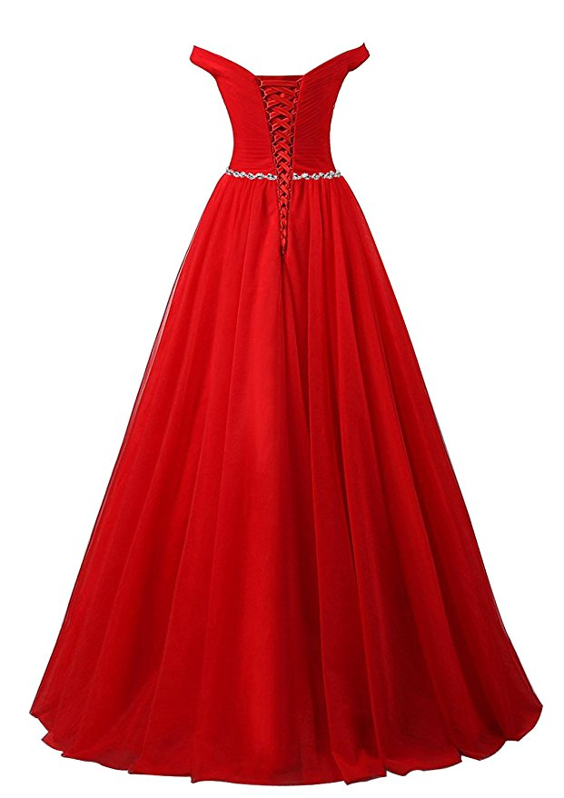 Am460 Red Prom Dress Sexy Lace-up Tulle Evening Dresses Party Dresses Robe De Soiree Formal Gowns