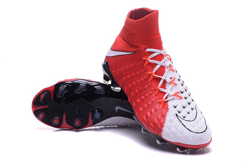 quality design 1d5e7 0ef23 Nike Cleats Hypervenom Phantom III DF FG White Fire Red Black
