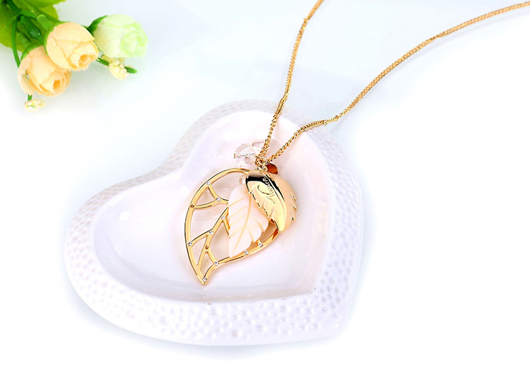 Handmade Fashion Jewelry Crystal Leaf Pendant Gold Necklace For Women Girls Valentine S Day Gift Sold By Simple Fashion On Storenvy
