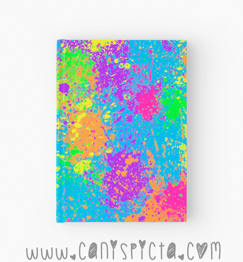 "Neon Paint Splatter Journal Notebook Sketchbook Graphic Print Hot Pink Aqua Blue Black Grey Orange Yellow Purple Bound Gift Book Diary Art Ruled Idea Find Pop Culture  This listing is for ONE Hardcover Journal - Available in 4 styles (please select from the dropdown menu)  Hardcover Journal Dimensions: 5.2"" x 7.3""  ""Splattah""  Can you tell we were kids of 80s/90s? We still freaking love paint splatter. Get your splat on as you doodle, scrawl, scribble, and pen great novels in our hardcover journals. Perfect gift for the Ninja or Pirate in your life...or yourself ;D.  All you craftily creative minds out there, we've gotcha covered. Our notebooks are available in lined, blank, AND graph. That's write--er, I mean ""righ"