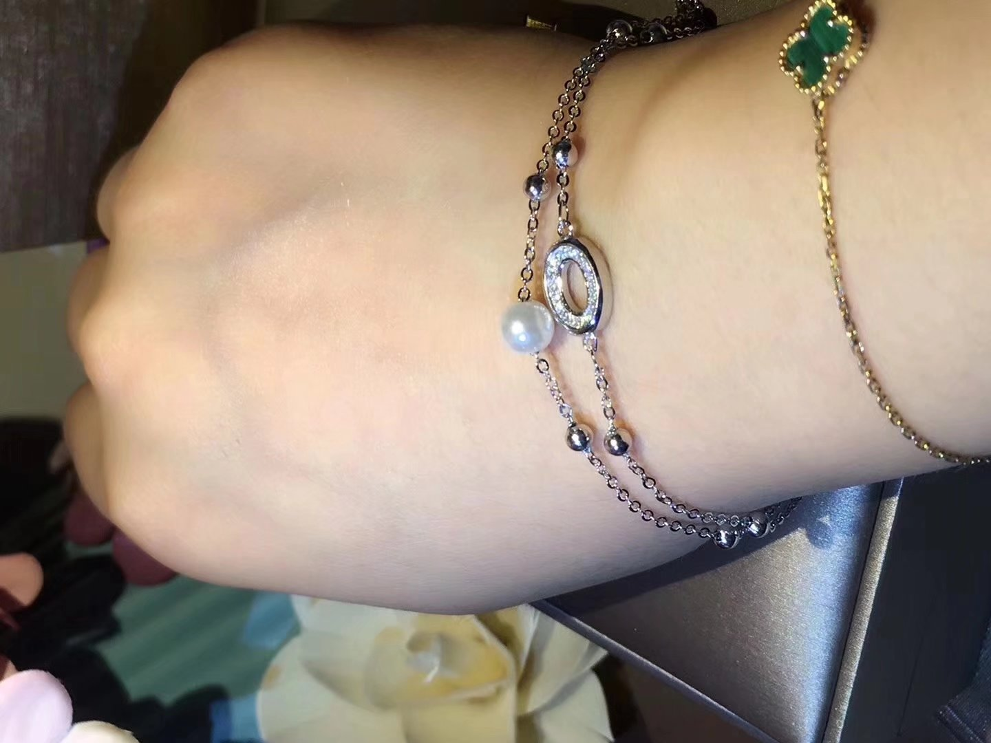 Fashion Up Up Up 925 Sterling Silver Inlaid Stone Bracelet