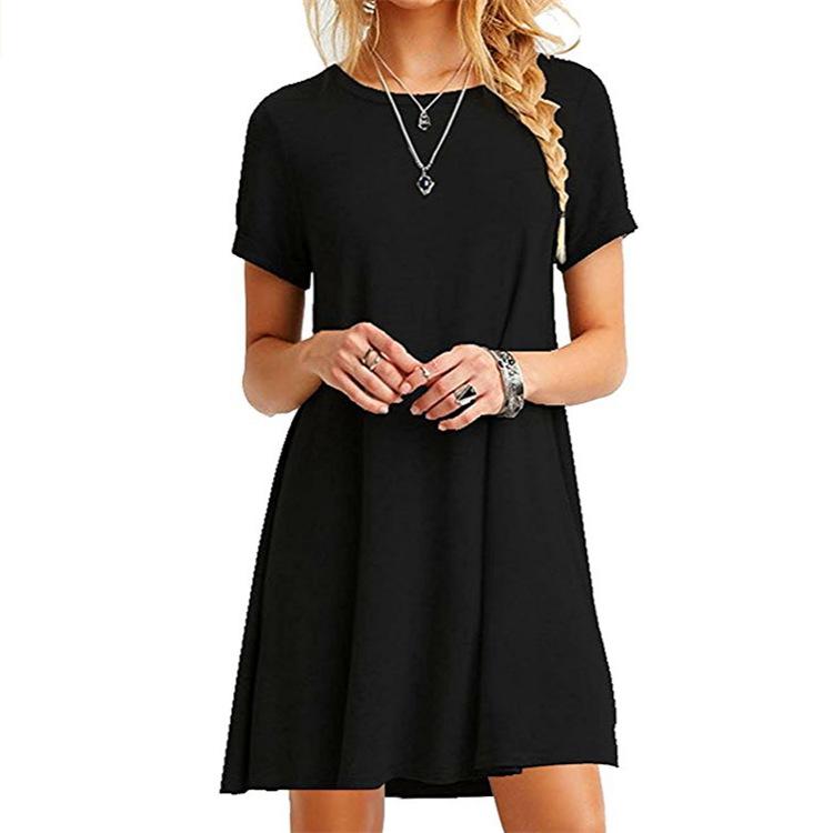 Women Vintage Dress Black Green Summer Dresses Fashion Casual Womens Clothing Solid Simple Short Sleeves Dress Vestidos