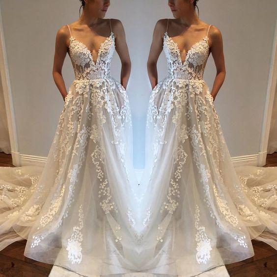 Off White Wedding Dress | Charming Wedding Dress Spaghetti Strap Wedding Dress Off White