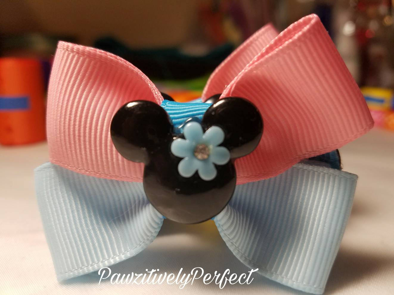 Blue And Pink Hair Bow With Minnie Mouse Center Piece