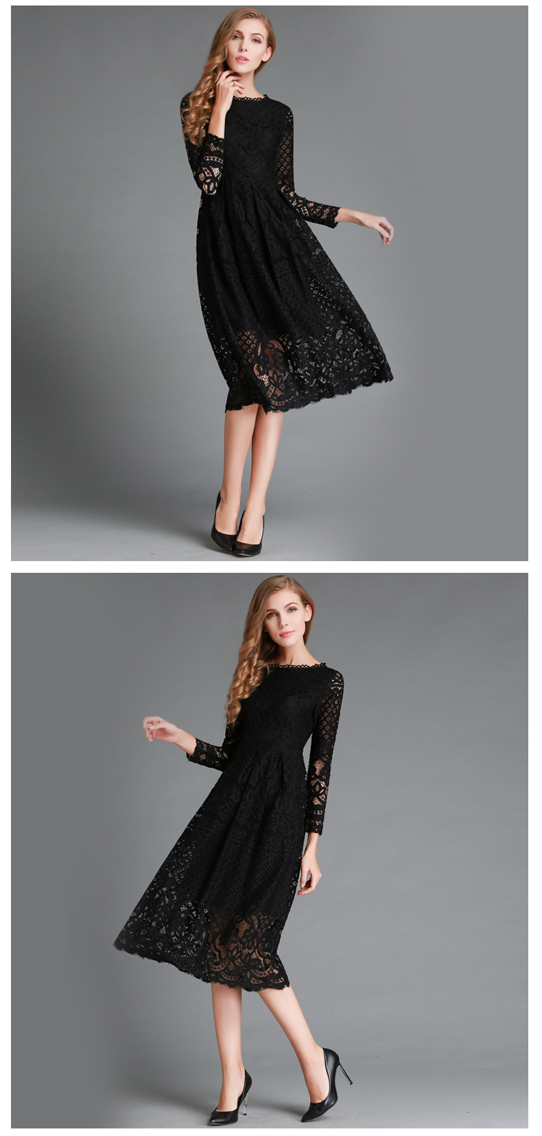 New European 2017 Spring Womens Lace Hollow Out Long Dresses Femme Casual Clothing Women Sexy Slim Party Dress L13