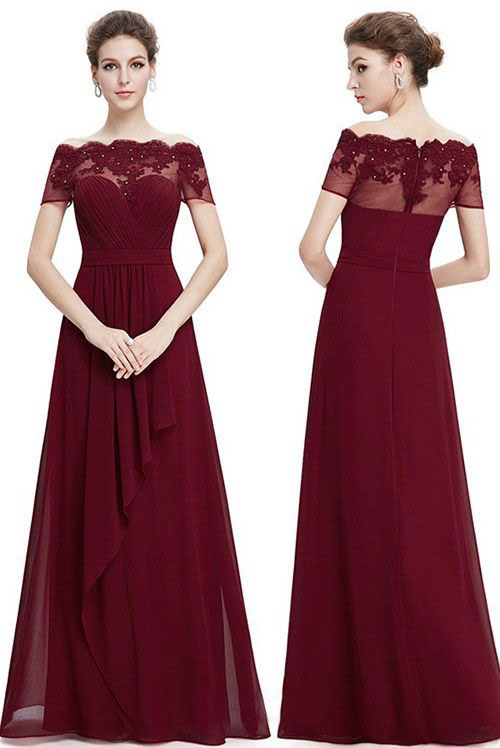 Image of Chiffon Burgundy Long Bridesmaid Dress with Lace Appliques for Wedding Party