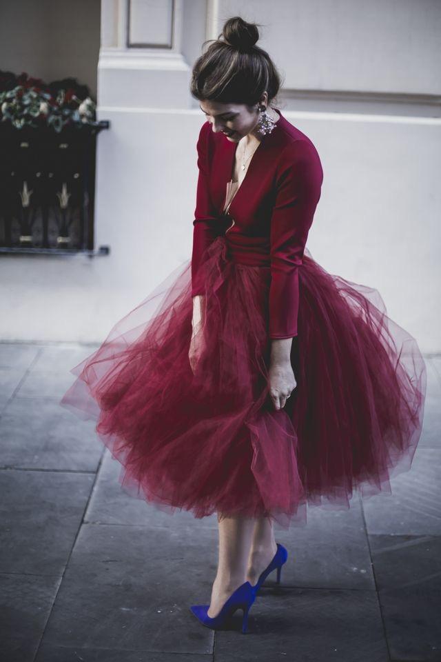 Image of Burgundy TuTu Tulle Skirt for Women