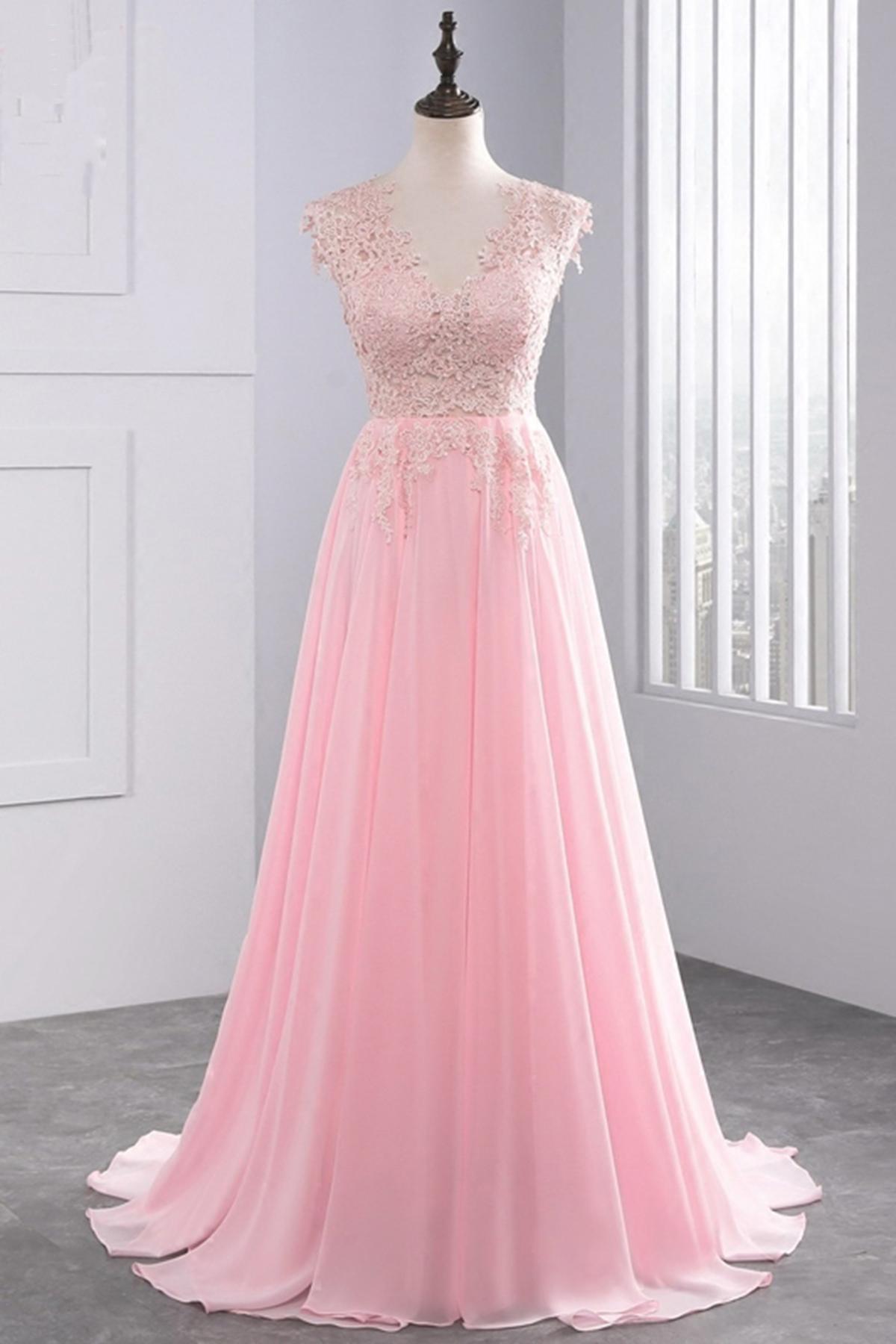 667e34648eb6 Cheap Prom Dresses by SweetheartDress · Unique pink chiffon long cap ...