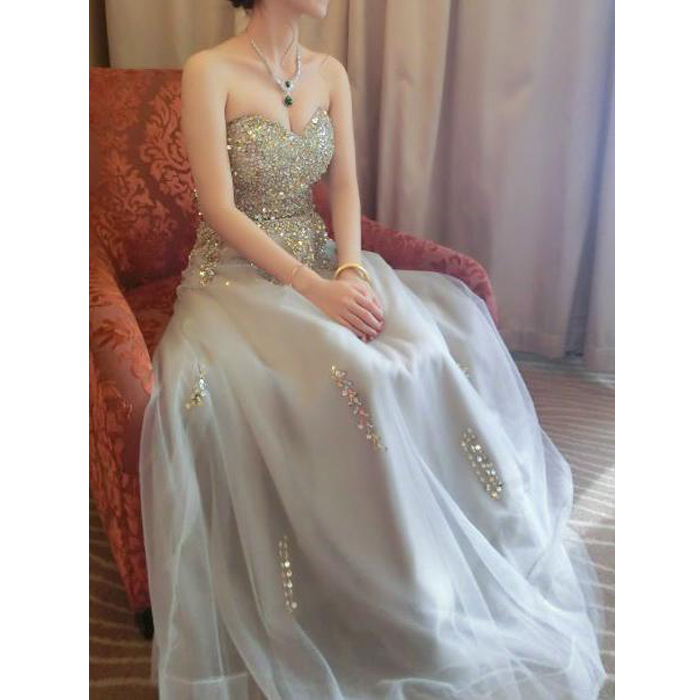 Sweetheart Rhinestone Light Grey Tulle Prom Dresses, Lace Up Prom ...