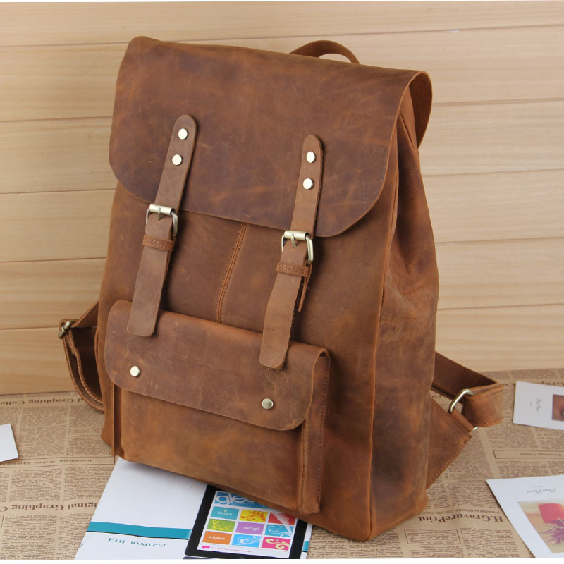 7cbdb517bbd Large Handmade Vintage Leather Backpack / Leather Satchel / Leather Travel  Bag / Day Pack /