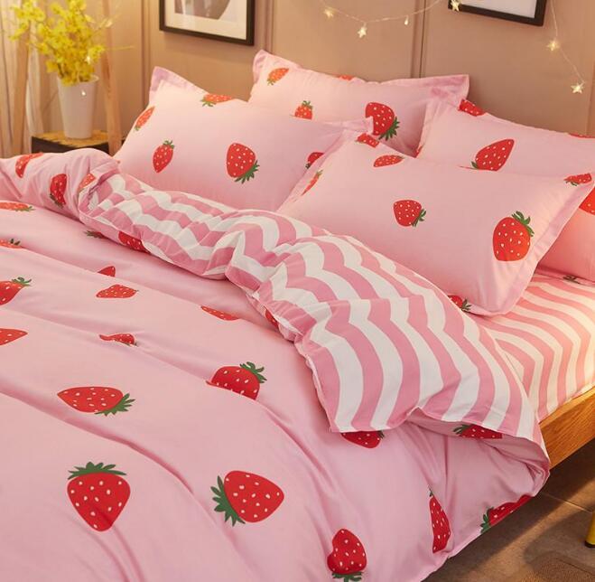 ... Pink Strawberry Prints Bed Sheet Set-4 Pieces - Thumbnail 2 ... e6f4934fc