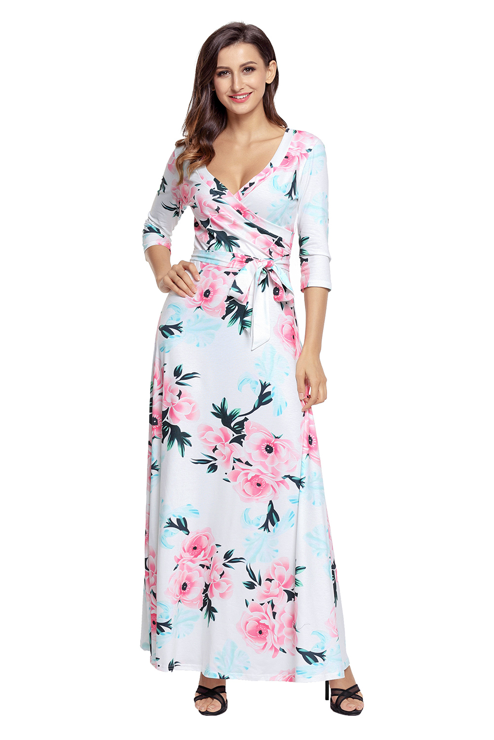 Large-size Womens Floral Print Sexy V-neck With A High-waisted Dress Elegant Summer Half Sleeve Casual Dress Syd42