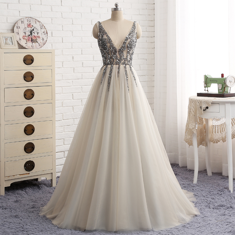 E399 Cheap Prom Dresses -robe De Soiree Sexy Deep V Neck See Through Long Party Dress