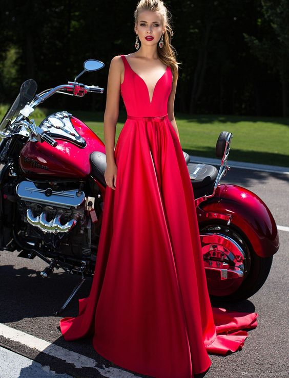 Sexy Long Red Prom Dresses Deep V Neck Bow Sash A Line Formal Gowns