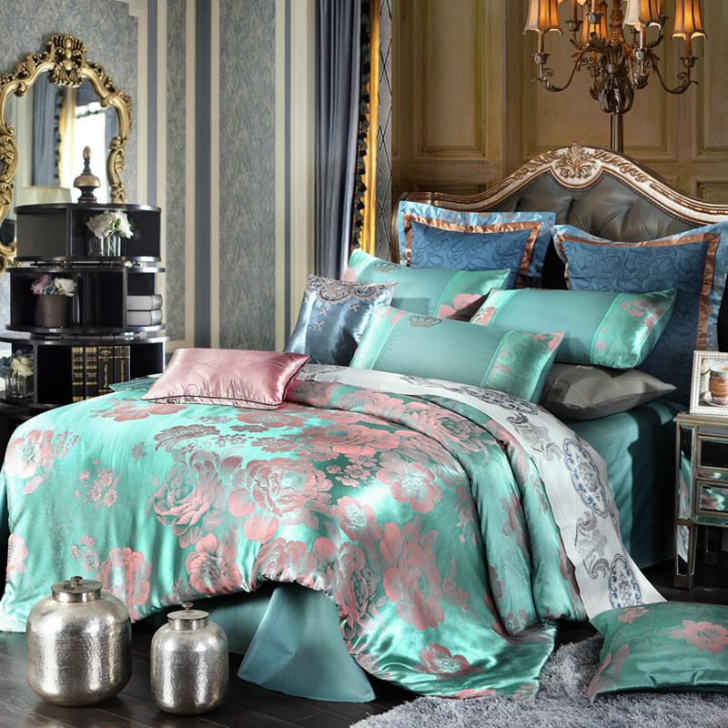 Hot 4pcs Bed Set Home Textile Bed Sheet Satin Jacquard Bedding Set Bed Linen Quilt Queen King Size