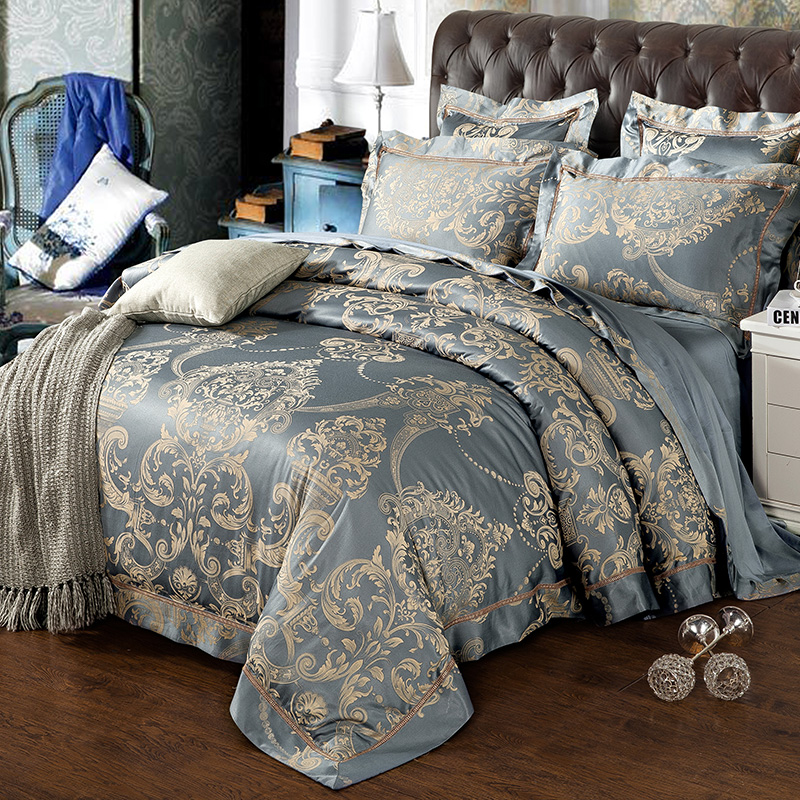 Luxury Satin Jacquard Hollow Lace Bedding Set Bedclothes Bed Linen Sheet Set Queen King Size
