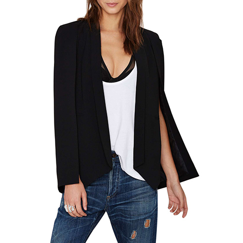 Womens Fashion Solid Shawl Collar Open Front Cape Blazer