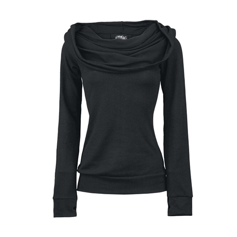 Womens Slim Hoodie Scarf Collar Casual Hooded Sweatshirt Tops Sport Tracksuit