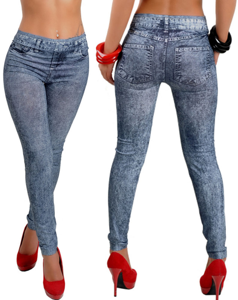 One Size Womens Low Rise Print Fake Jeans Seamless Skinny Leggings Tight Pants Hy9066