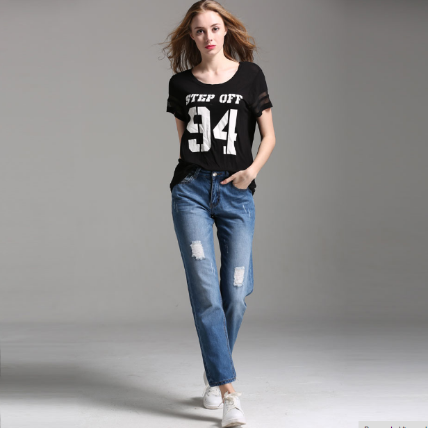 Ripped Boyfriend Jeans For Women Jeans Pants Women Mid-Waist Holes Denim Jeans Female Pants
