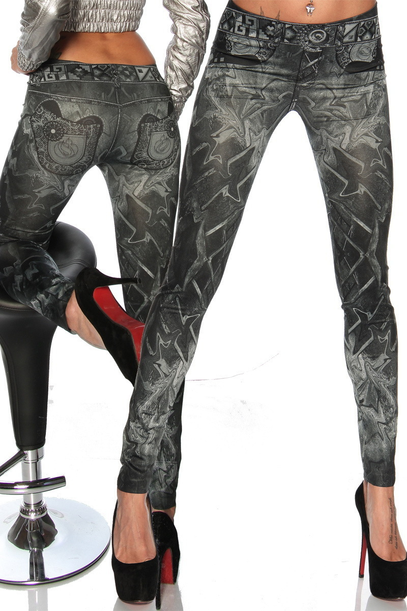 One Size Womens Low Rise Print Fake Jeans Seamless Skinny Leggings Tight Pants Hy9055bk