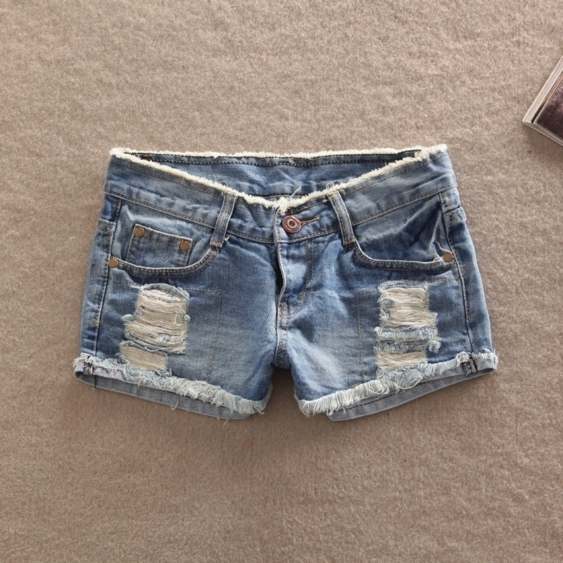 2016 Summer Frosted Hole Lady Denim Shorts Loose Shorts Womens Jeans Shorts-hot Sale Ladies Short Pants