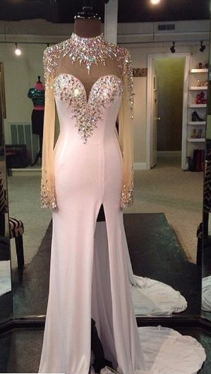 Prom Dress-sexy Long Sleeve Prom Dress-crystal Mermaid Evening Dress-high Low Evening Gown