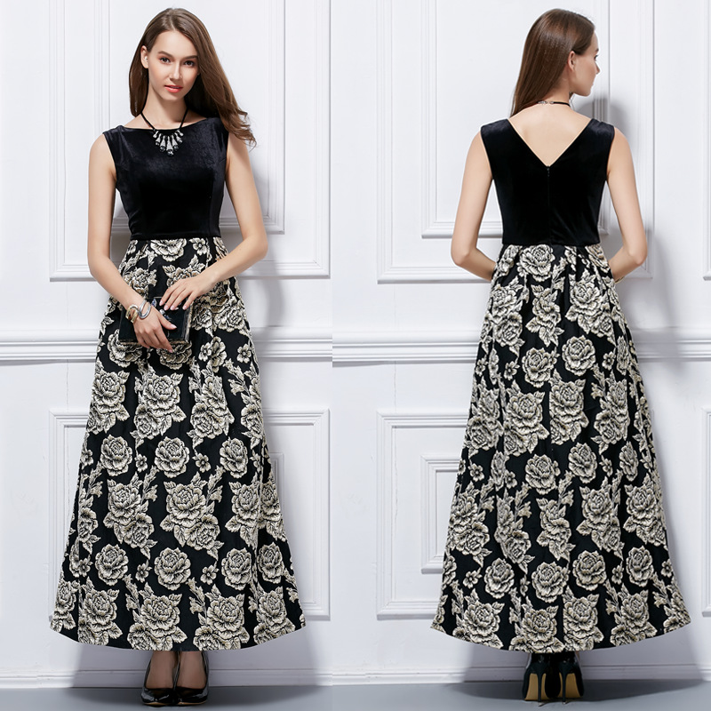 Womens Casual Floral Printed Sleeveless Empire Party Maxi Dress-elegant Print Evening Dresses-long Evening Gowns