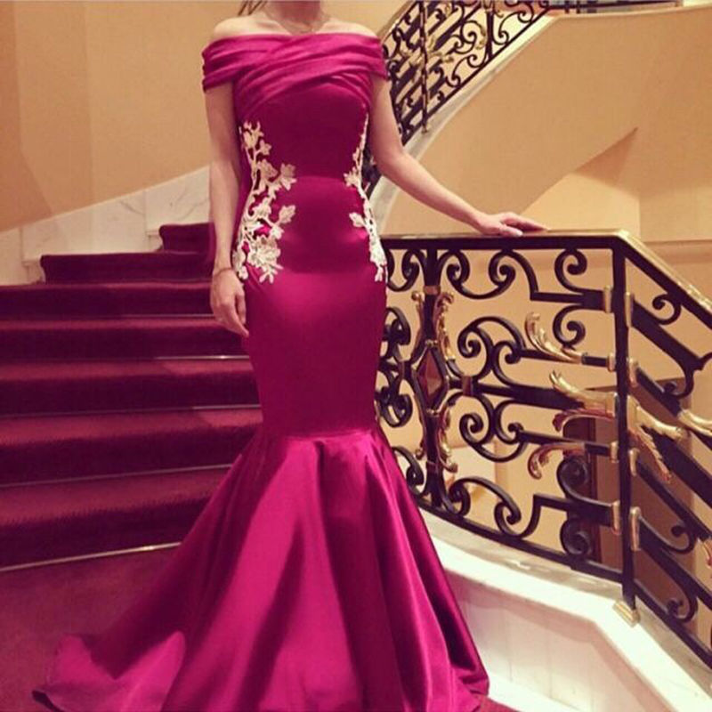 Hot Selling Fuschia Mermaid Prom Dresses Evening Party Bridesmaid Gown