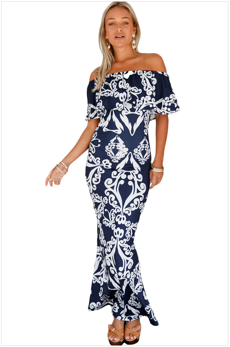 d20d07dc6ffd Sexy Woman Strapless Maxi Long Ruffle Summer Party Clubwear Elegant  Sundress Slash Neck Hot Dresses SYD86E