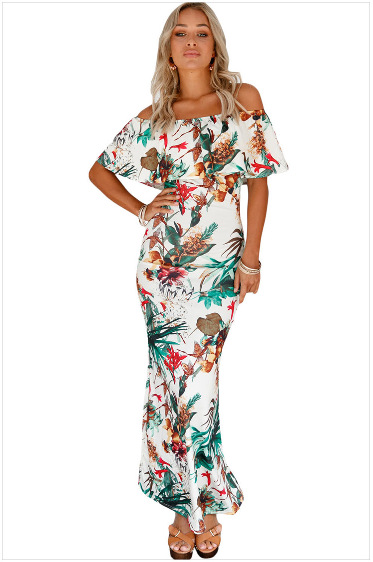 52df4b159025 Sexy Woman Strapless Maxi Long Ruffle Summer Party Clubwear Elegant  Sundress Slash Neck Hot Dresses SYD86H ...