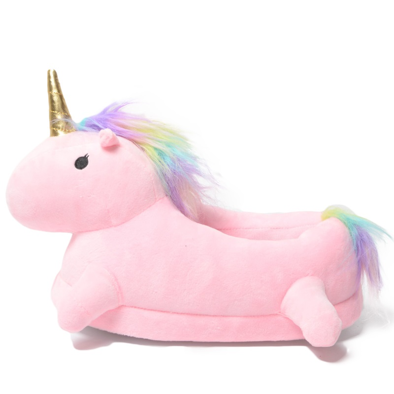 Home Cute Cotton Pink Unicorn Gold Horn Slippers